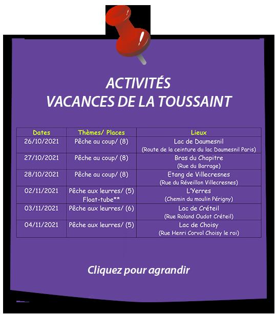 activités animations pêche paris vacances toussaint 2021